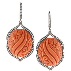 14k White Gold Carved Coral and 1 4/5ct TDW Diamond Art Deco Estate Earrings (H-I, SI1-SI2)