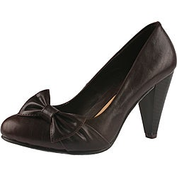 Elegant by Beston Women's 'Medina-1' Brown Bow Pumps