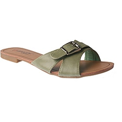 Elegant by Beston Women's 'SANDRI-6' Green Buckle Sandals