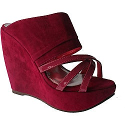 Elegant by Beston Women's Fuchsia Platform Wedges