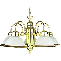 Polished Brass Frosted Glass 5-Light Chandelier