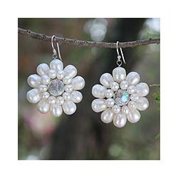 Sterling Silver 'Chrysanthemum' Pearl Earrings (3-6.5 mm) (Thailand)