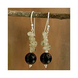 Sterling Silver 'Dance in the Mist' Onyx Aventurine Earrings (India)