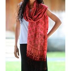 Silk 'Scarlet Lily' Batik Shawl (Indonesia)