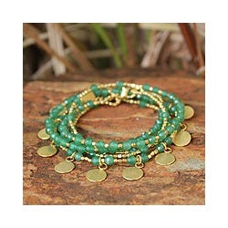 Gold Overlay 'Green Deva Dancer' Quartz Bracelet (Thailand)