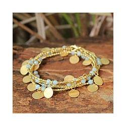 Gold Overlay &#39;Aqua Suns&#39; Quartz Bracelet (Thailand)