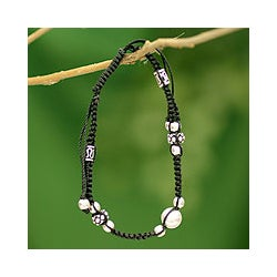 Sterling Silver 'Jaipur Happiness' Macrame Bracelet (India)