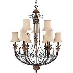 Verdone Gilded Cage Amber Bisque 9-Light Chandelier