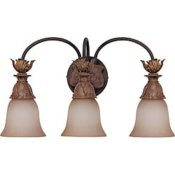 Verdone Gilded Amber Bisque Glass 3-Light Vanity Wall Sconce