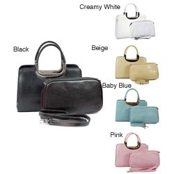 Dasein Classic 2-in-1 Solid Faux Leather Satchel