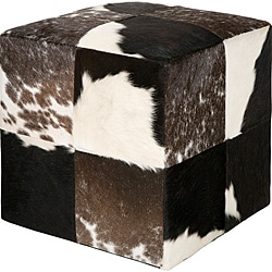 Decorative Cowprint Black Pouf