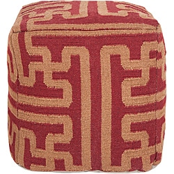 Decorative Argyle Maroon Pouf