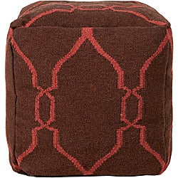 Decorative Gridwork Maroon Pouf