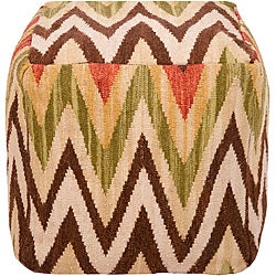 Decorative Cheveron Tan Pouf