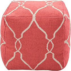 Decorative Arabesque Red Pouf