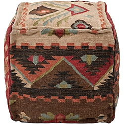 Decorative Southwestern Beige Pouf
