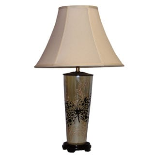 Transitional Pearlized Beige Butterfly Table Lamp