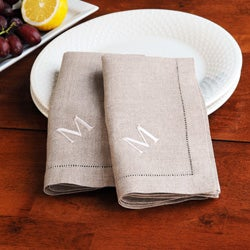 Monogrammed Natural Linen Hemstitch Napkins (Set of 6)