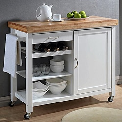 Denver White Modern Kitchen Cart