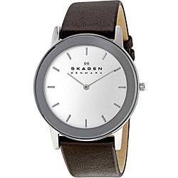 Skagen Men's Stainless Steel Leather Strap Watch