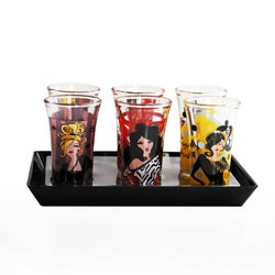 American Atelier 'Working Girls' Shot Glasses and Black Tray Set