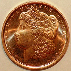 Money Trader 1-oz 999 Pure Copper Bullion 2012 Morgan Head Design Coin