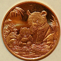 Money Trader 1-oz 999 Pure Copper Bullion 2012 Panda Design Coin