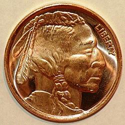 Money Trader 1-oz 999 Pure Copper Bullion 2012 Indian Head Design Coin
