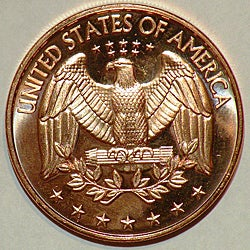 Money Trader 1-oz 999 Pure Copper Bullion 2012 Quarter Design Coin