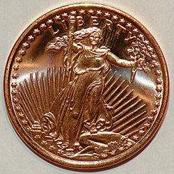 Money Trader 1-oz 999 Pure Copper Bullion 2012 Saint Gaudens Design Coin