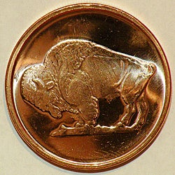 Money Trader 1-oz 999 Pure Copper Bullion 2012 Buffalo Design Coin