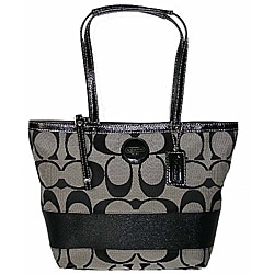 Coach Black Canvas Leather Stripe Tote