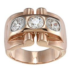 18k Rose Gold 2 1/2ct TDW Old Mine Cut Diamond Art Deco Estate Ring (K-L, SI1-SI2)