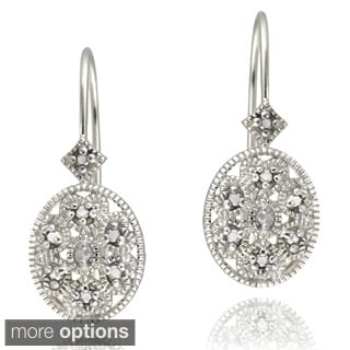 Sterling Silver Diamond Accent Filigree Designed Oval Leverback Earrings