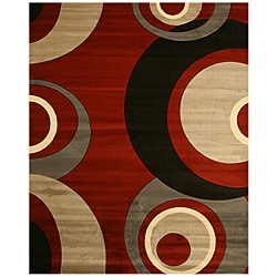 red and grey rugs