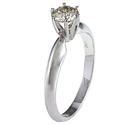 14k White Gold 1/2ct TDW Certified Diamond Solitaire Engagement Ring (J-K, I1-I2)