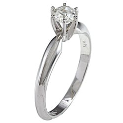 Victoria Kay 14k Gold 1/2ct TDW Certified Round Diamond Solitaire Ring (G-H, I1-I2) (Size 6.5)
