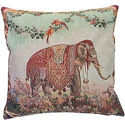 Corona Decor French Woven Elephant Decorative Pillow