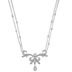 18k White Gold 1ct TDW Art Deco Diamond Estate Necklace (H-I, SI1-SI2)