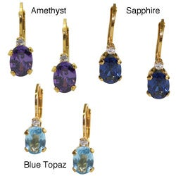 Jenne Gold over Silver Created Gemstone and CZ Earrings