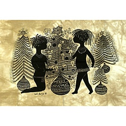 Heidi Lange 'Merry Christmas' Unframed Batik Cotton Screen Print (Kenya)