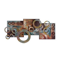Metal and Wood Abstract Circle Wall Art Decor Plaque