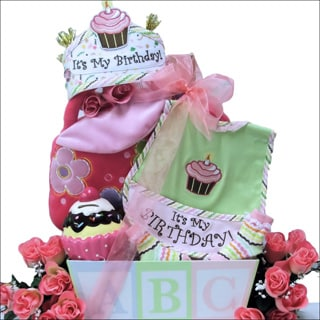 Baby's 1st Birthday Baby Girl Gift Basket