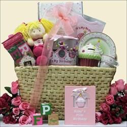 Baby's 1st Birthday Girl Large Gift Basket
