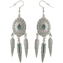 CGC Pewter Created Turquoise Southwest-style Feather Earrings