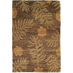 Hand-knotted Ferns Hemp Rug (9' x 12')