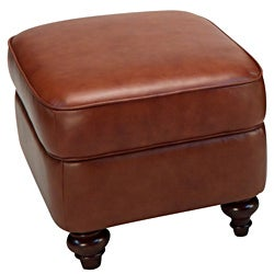 Seville Leather Storage Ottoman in Vintage Oak