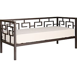 Greek Key Bronze Twin Daybed and Memory Foam Mattress