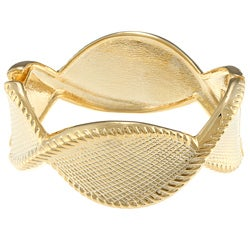 Alexa Starr Goldtone Twisted Etched Bangle Bracelet