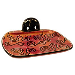 African Arabesque Soapstone Soap Dish from Kenya (Black and Rose)